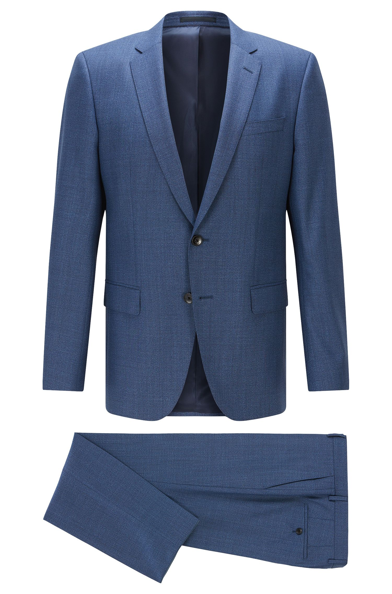 Slim-fit serge suit in virgin wool