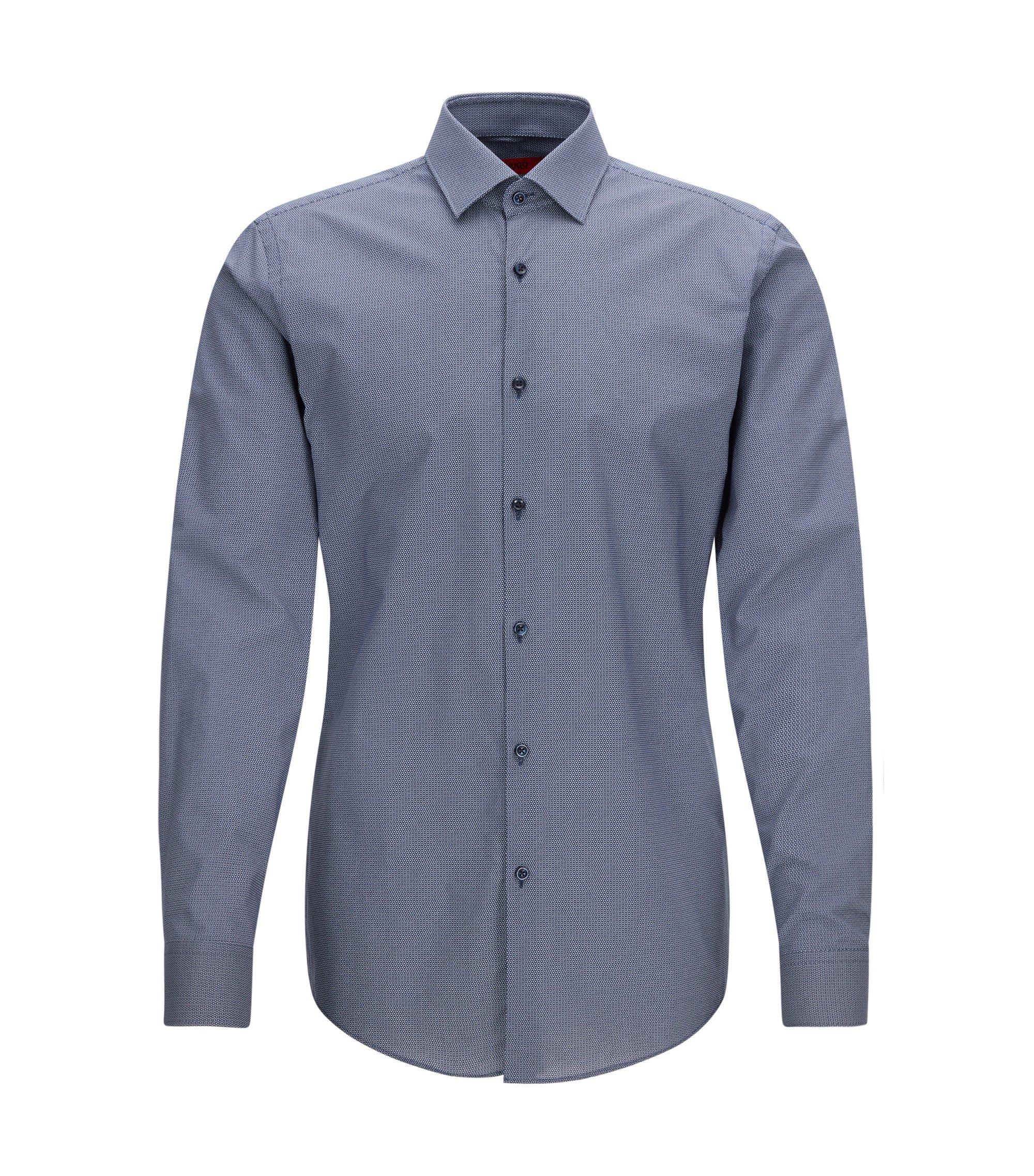 Slim-fit shirt in printed cotton, Dark Blue