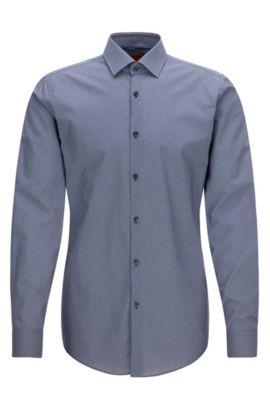 Slim-fit overhemd van katoen met print, Donkerblauw
