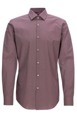 Slim-fit shirt in printed cotton, Dark Red