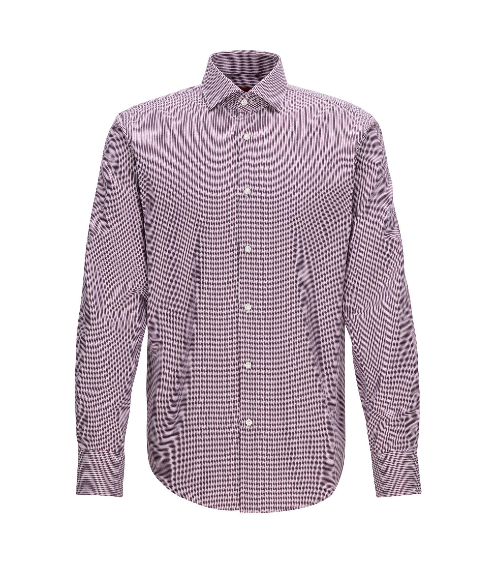 Camisa regular fit en algodón de dos capas con cuadros estilo pata de gallo, Rojo oscuro