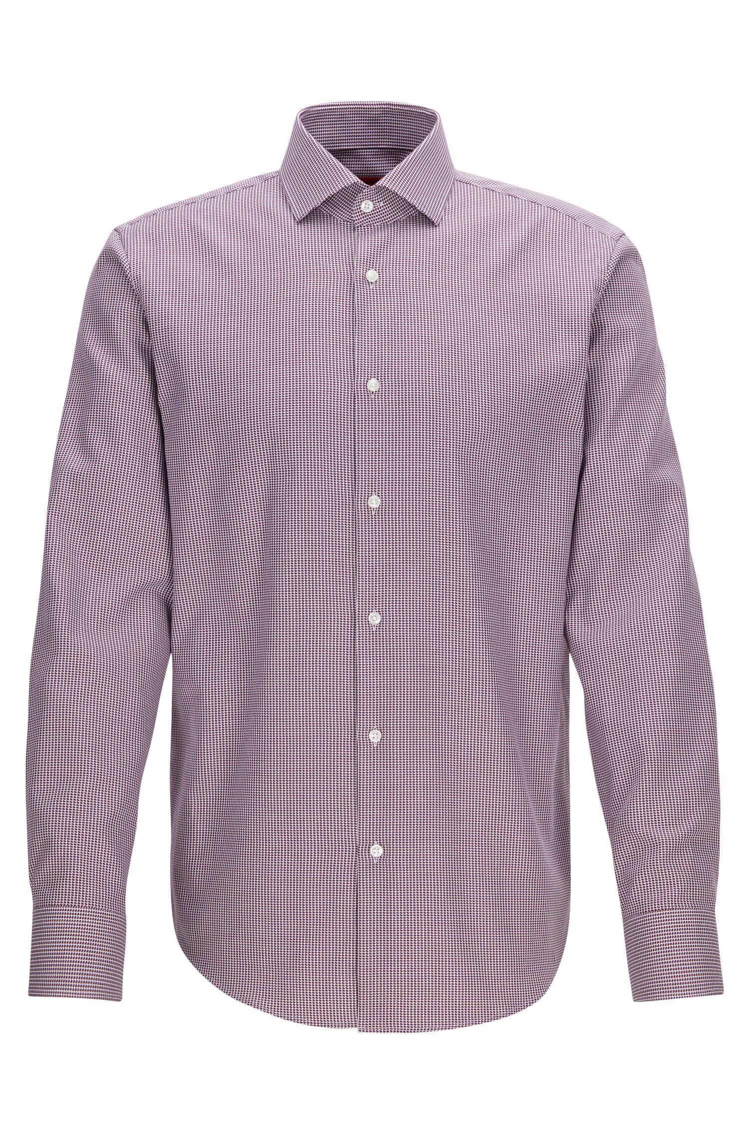 Camisa regular fit en algodón de dos capas con cuadros estilo pata de gallo