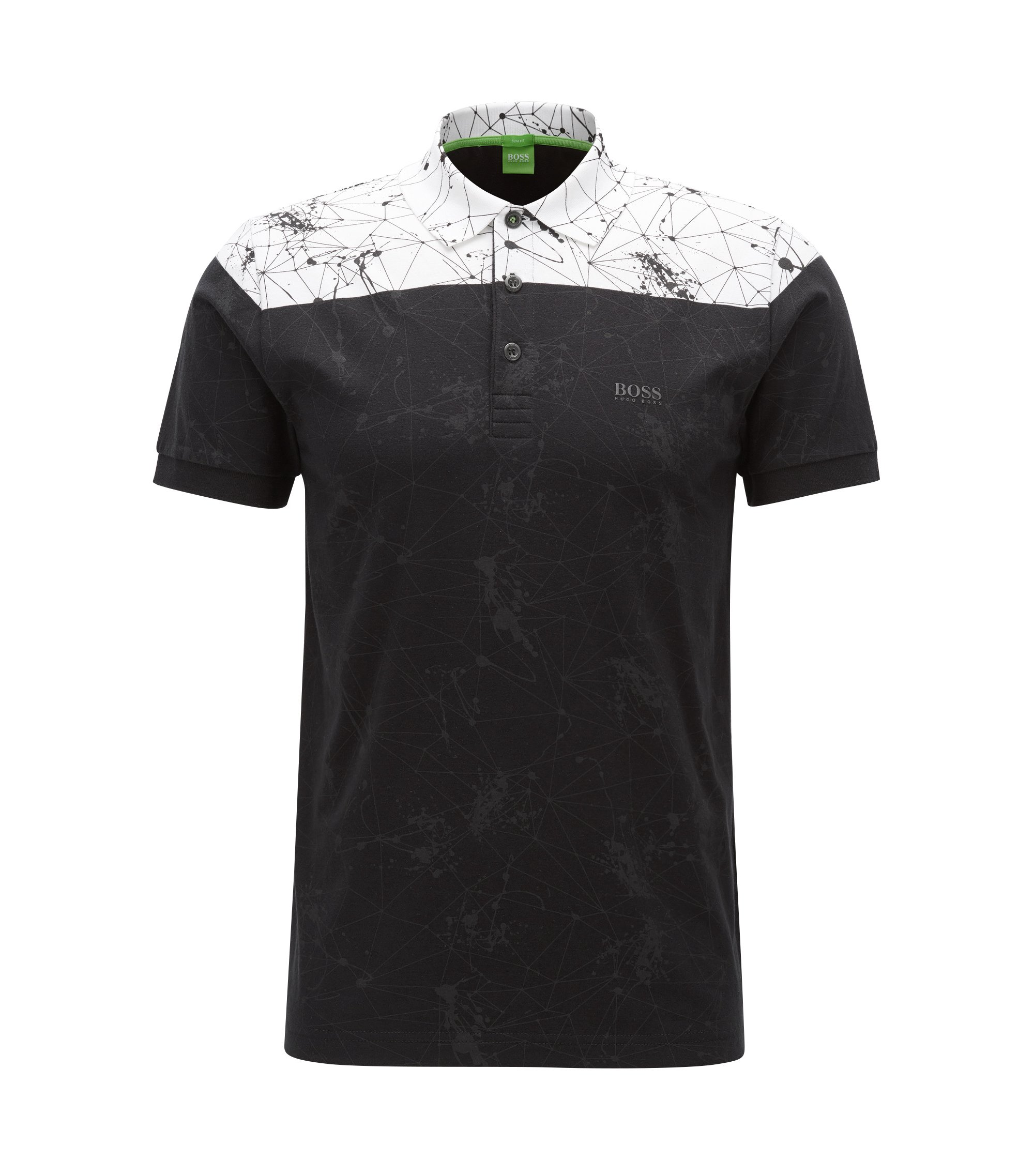 Slim-fit printed polo shirt in stretch cotton, Black