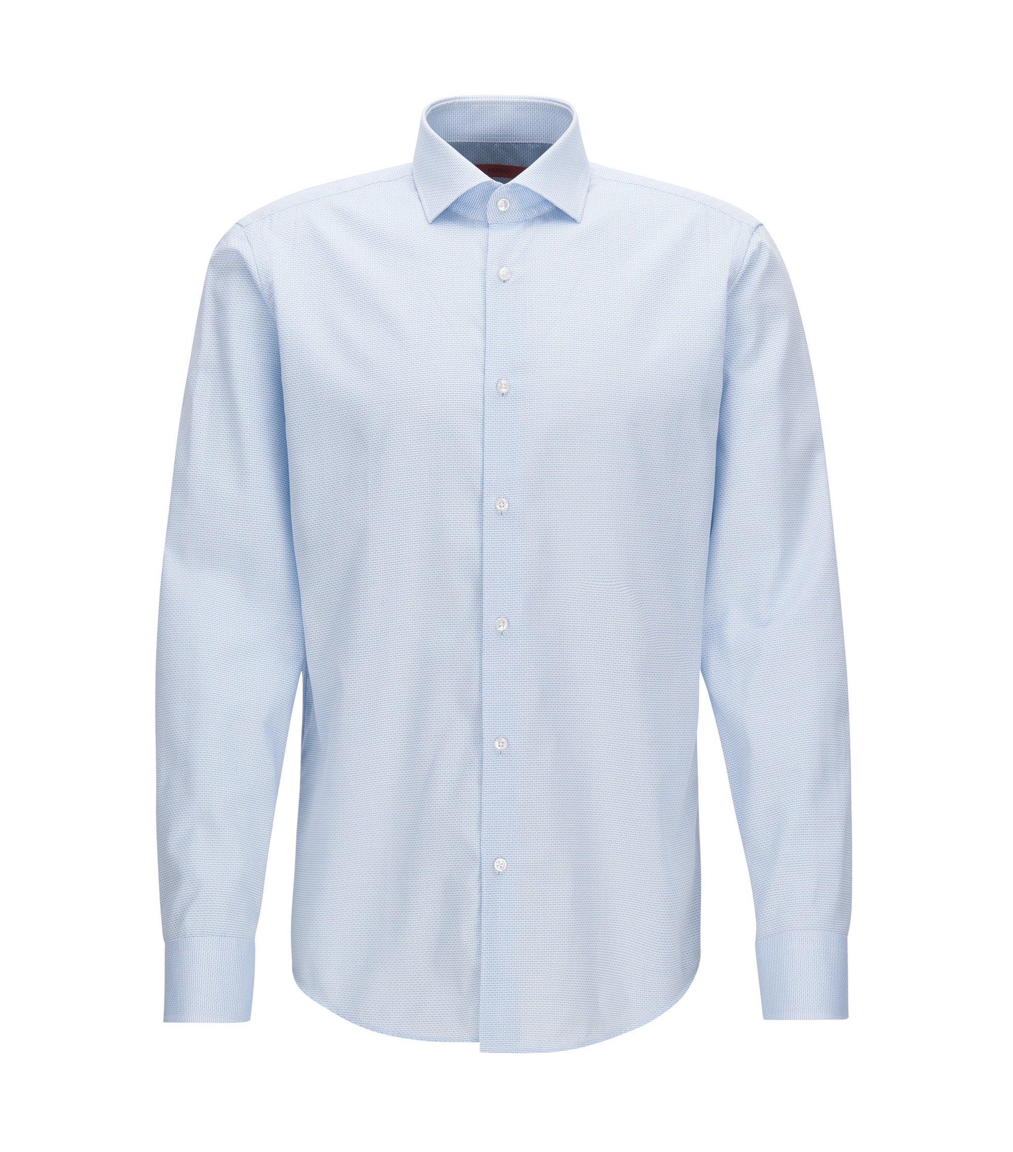 Regular-fit overhemd van katoenen popeline met dessin, Lichtblauw