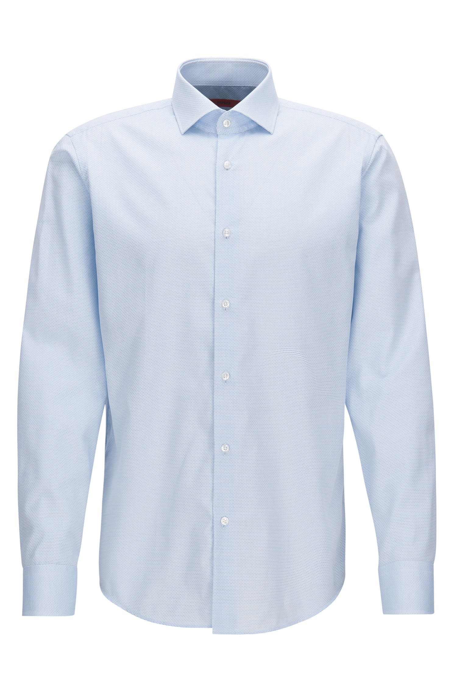 Regular-fit shirt in patterned cotton poplin