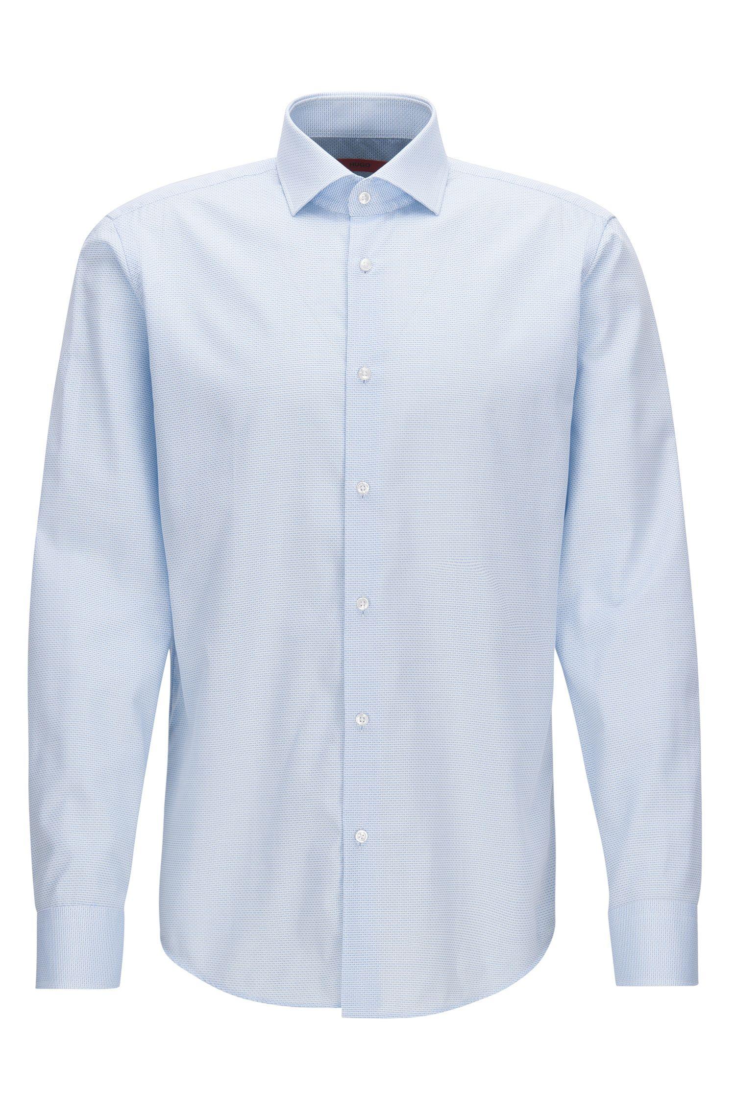 Regular-fit overhemd van katoenen popeline met dessin