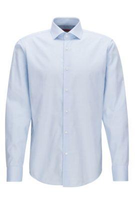 Gemustertes Regular-Fit Hemd aus Baumwoll-Popeline, Hellblau