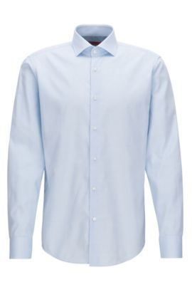 Regular-fit shirt in patterned cotton poplin, Light Blue
