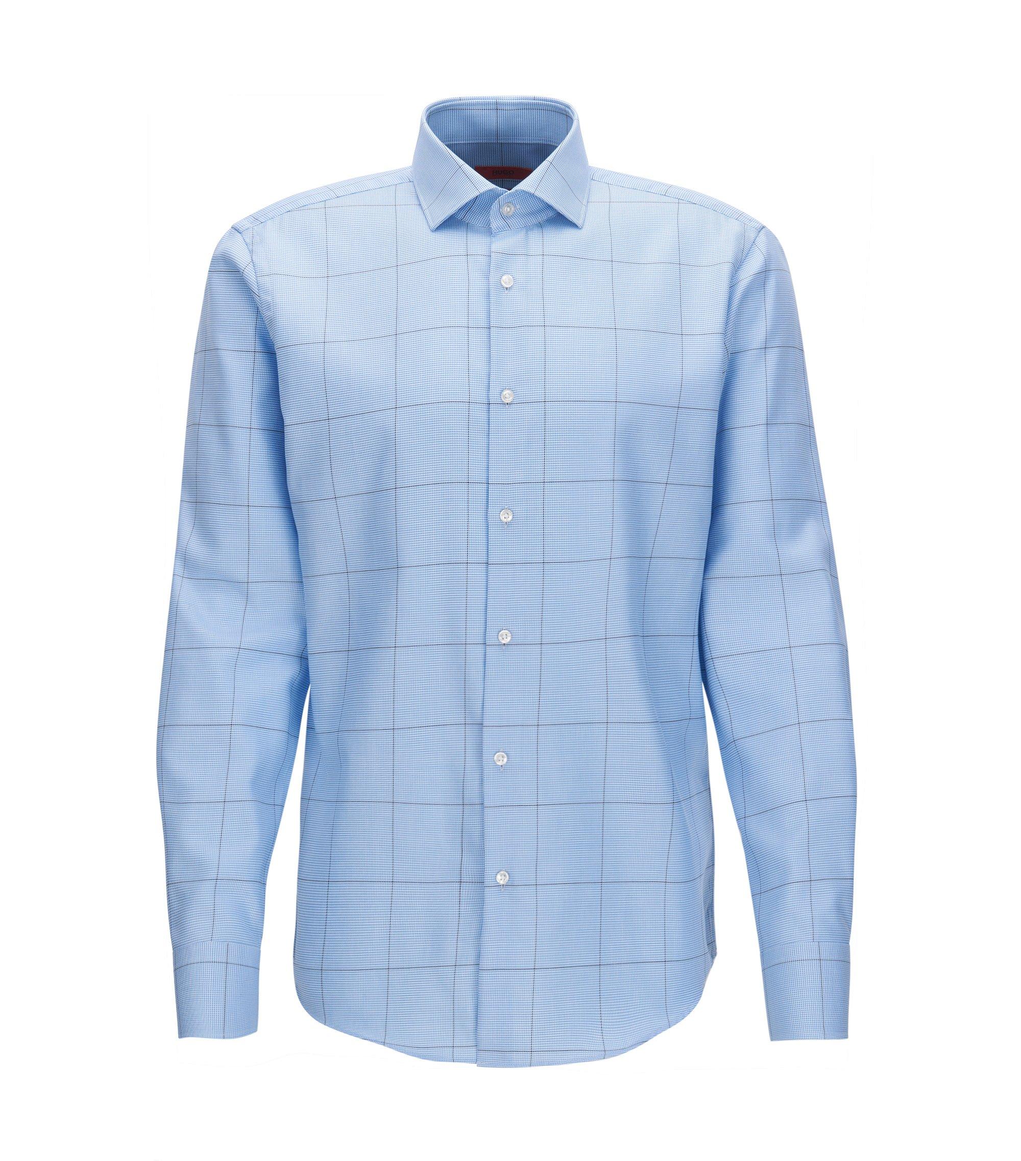 Regular-fit overhemd van geruite katoenen popeline, Lichtblauw