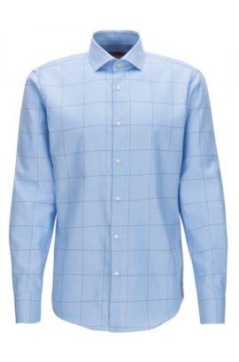 Camicia regular fit in popeline di cotone a quadri, Celeste