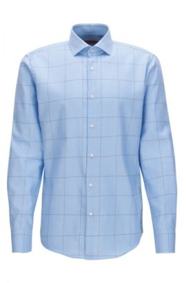 Regular-fit checked cotton poplin shirt, Light Blue