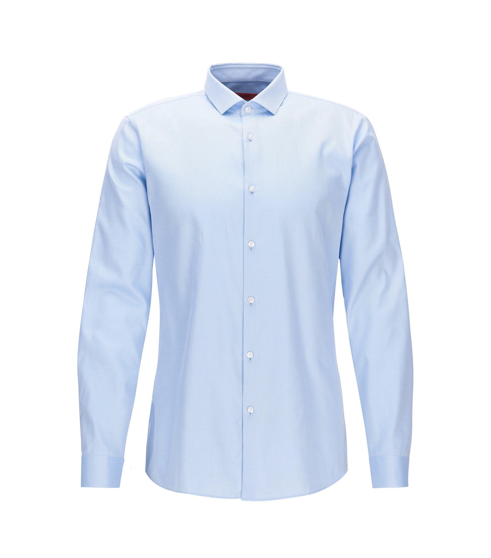 Extra slim-fit overhemd van tweedraadse katoen, Lichtblauw