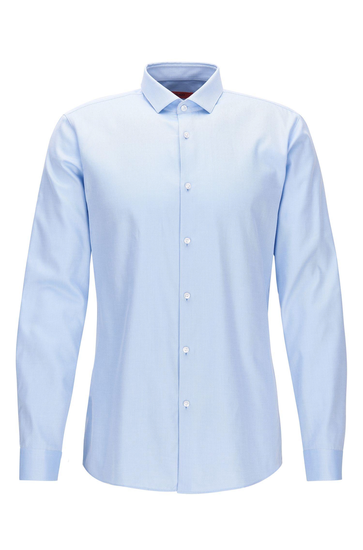 Slim-fit overhemd van tweedraadse katoen