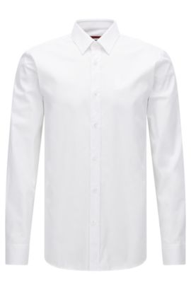 Slim-fit shirt in cotton twill, Open White