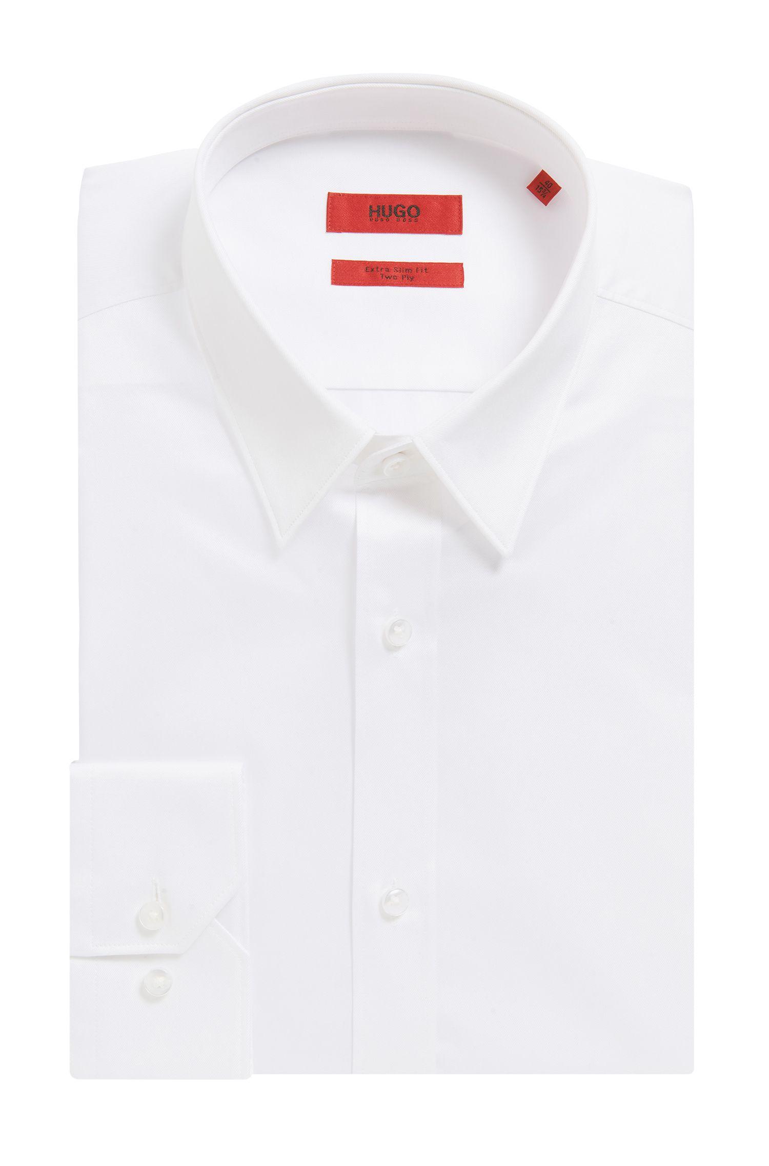 Camisa extra slim fit en sarga de algodón