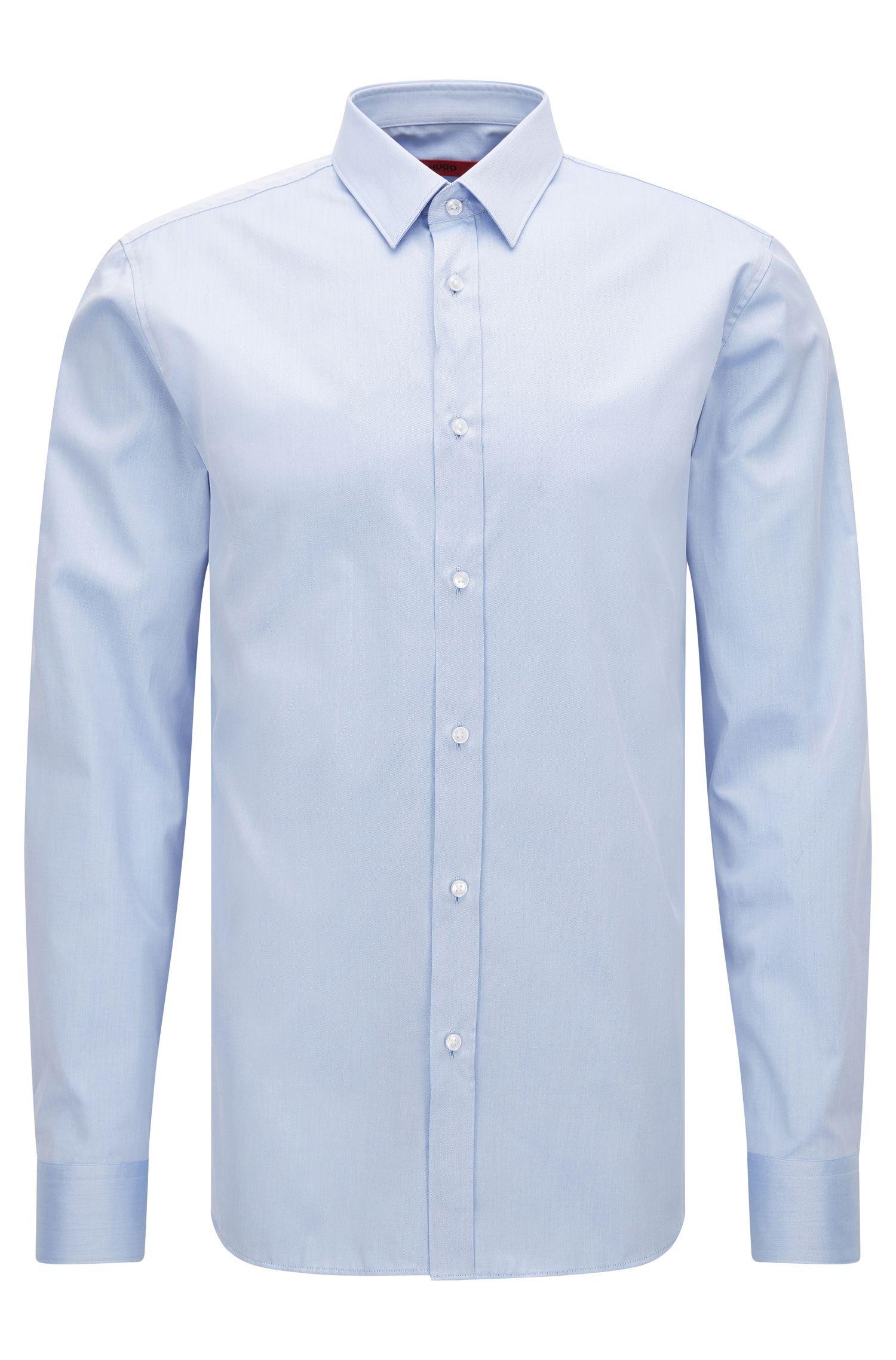 Camisa slim fit en sarga de algodón