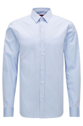 Slim-fit shirt in cotton twill, Light Blue