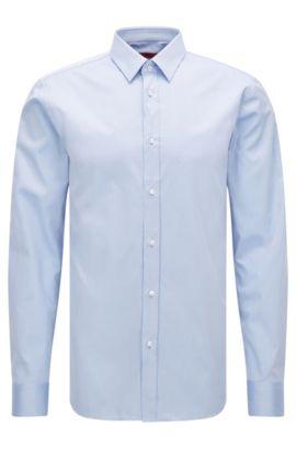 Slim-fit shirt in cotton twill, Bleu vif