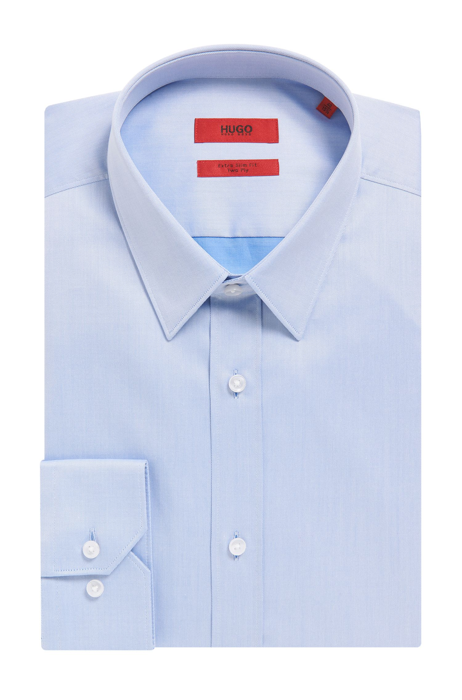 Extra-slim-fit shirt in cotton twill, Light Blue