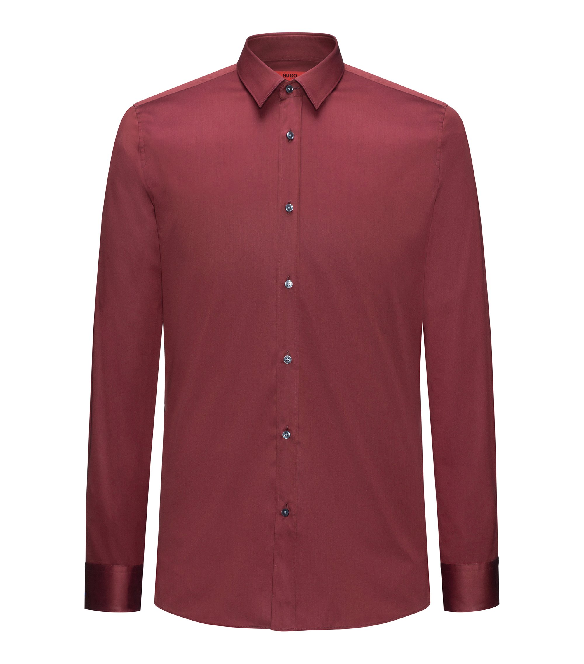 Extra-slim-fit shirt in cotton twill, Dark Red