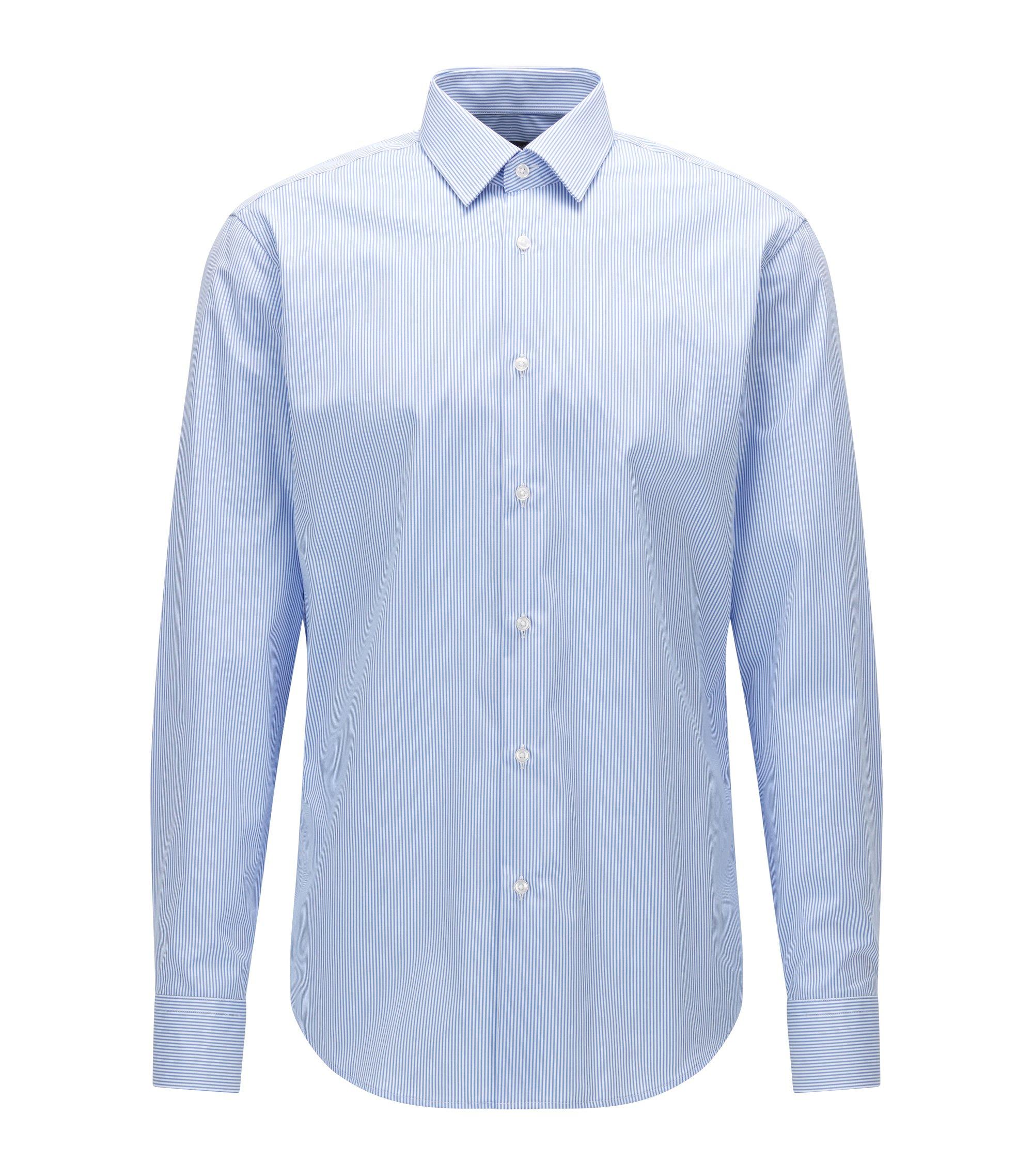 Regular-fit striped shirt in cotton poplin, Light Blue