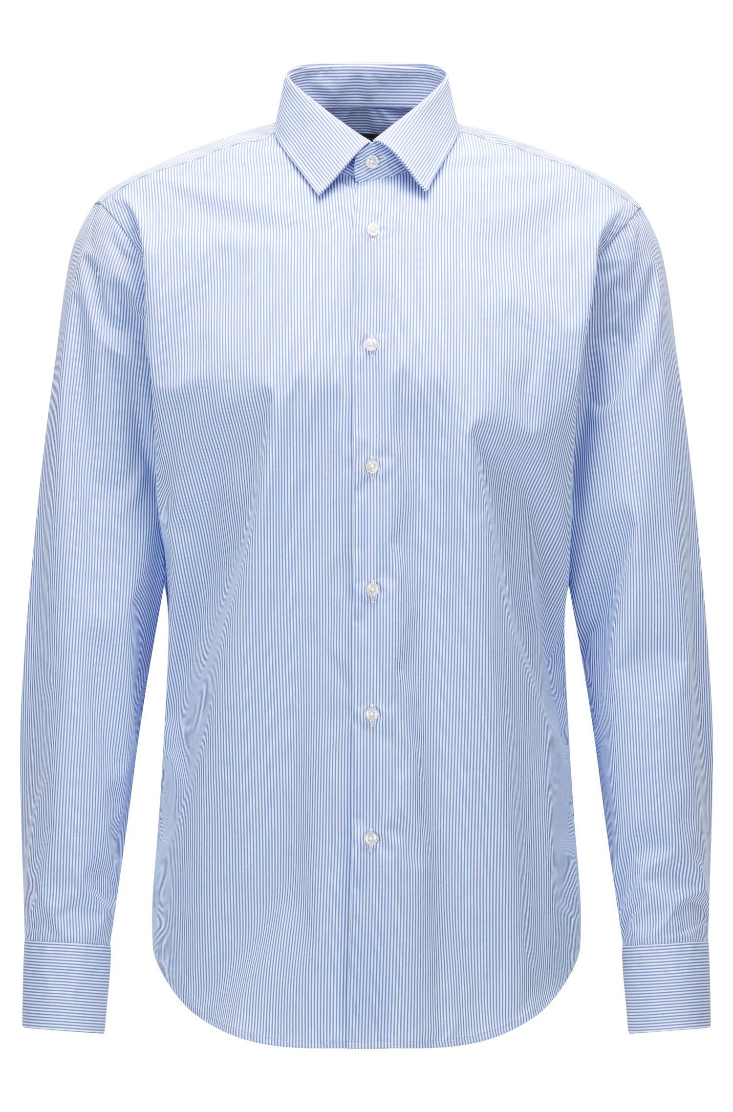 Regular-fit striped shirt in cotton poplin