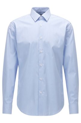 Camicia regular fit in popeline di cotone a righe, Celeste