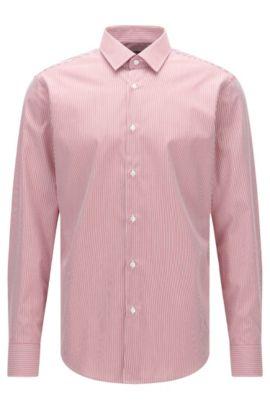 Regular-fit overhemd van katoenen popeline met streepdessin, Rood