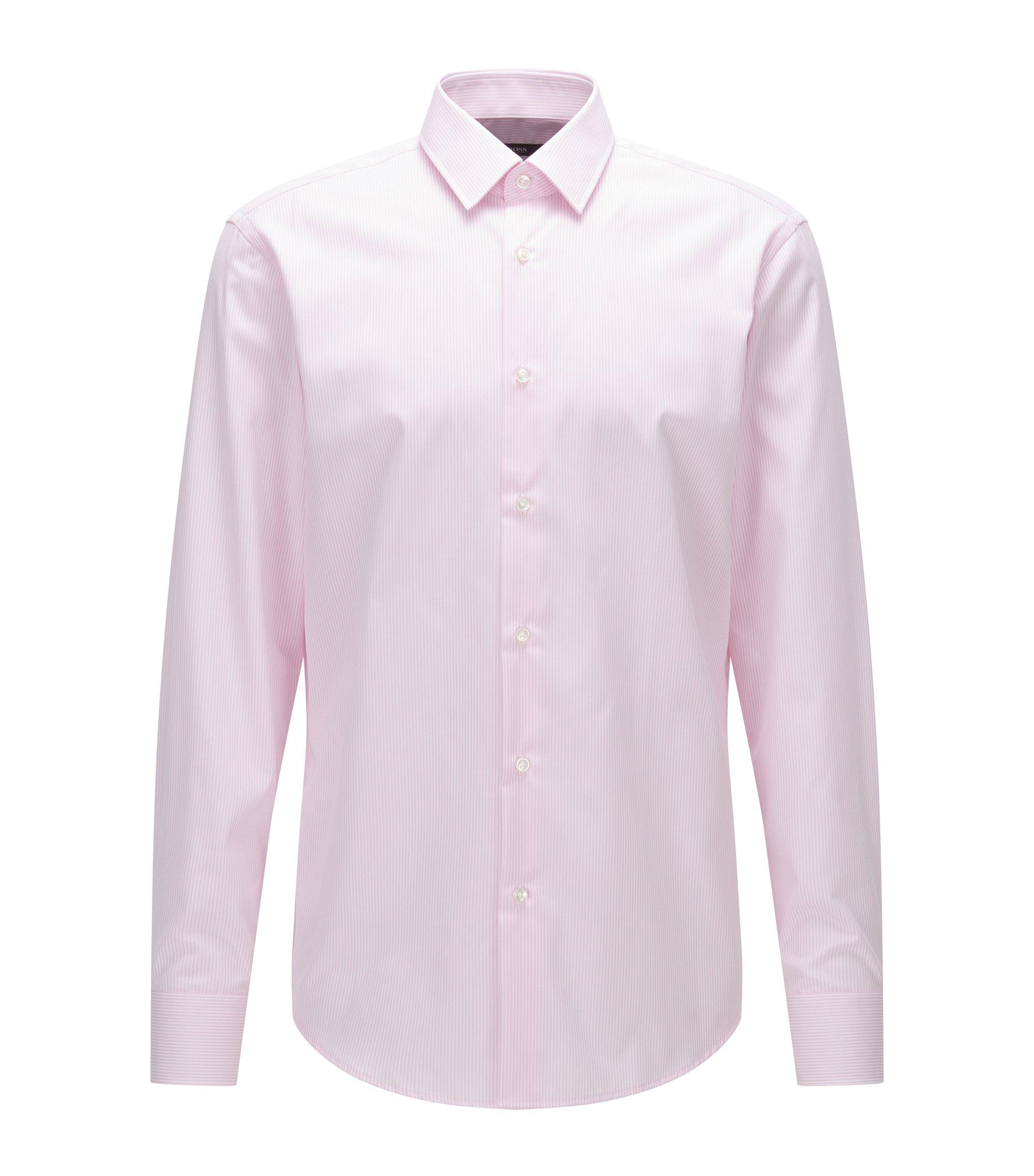 Chemise Regular Fit en popeline de coton à rayures, Rose clair