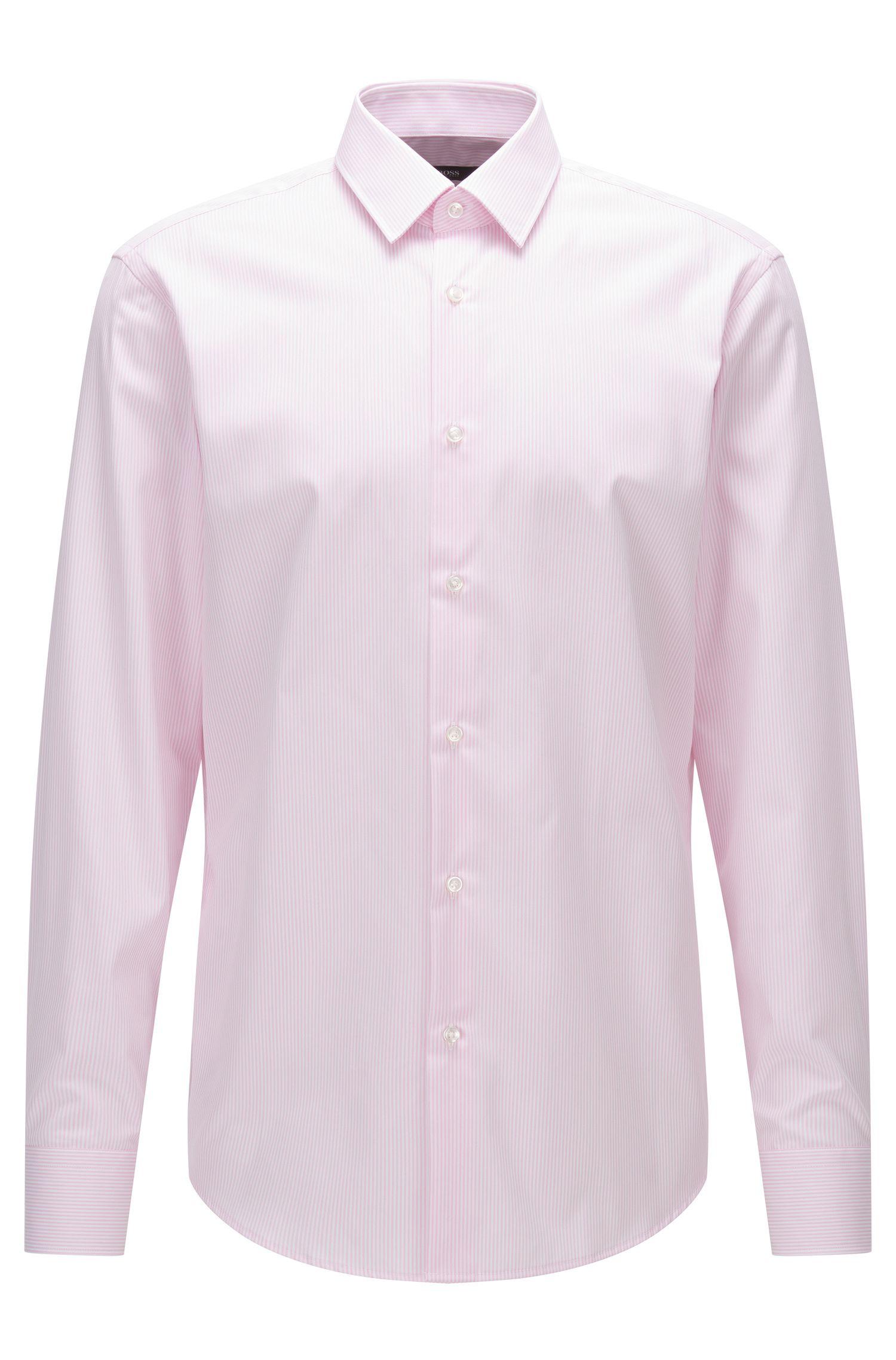 Regular-fit overhemd van katoenen popeline met streepdessin