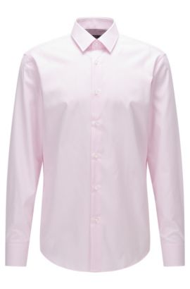Regular-fit striped shirt in cotton poplin, light pink