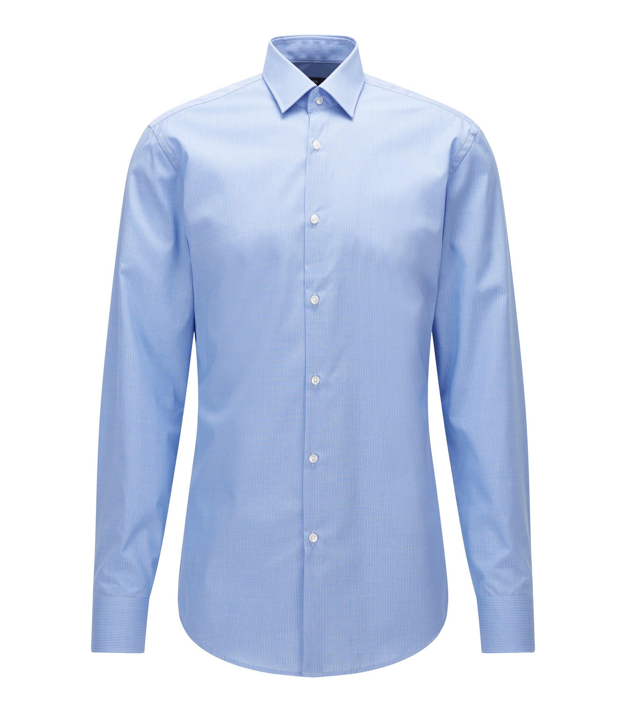 Slim-fit overhemd van katoenen popeline met dessin, Lichtblauw