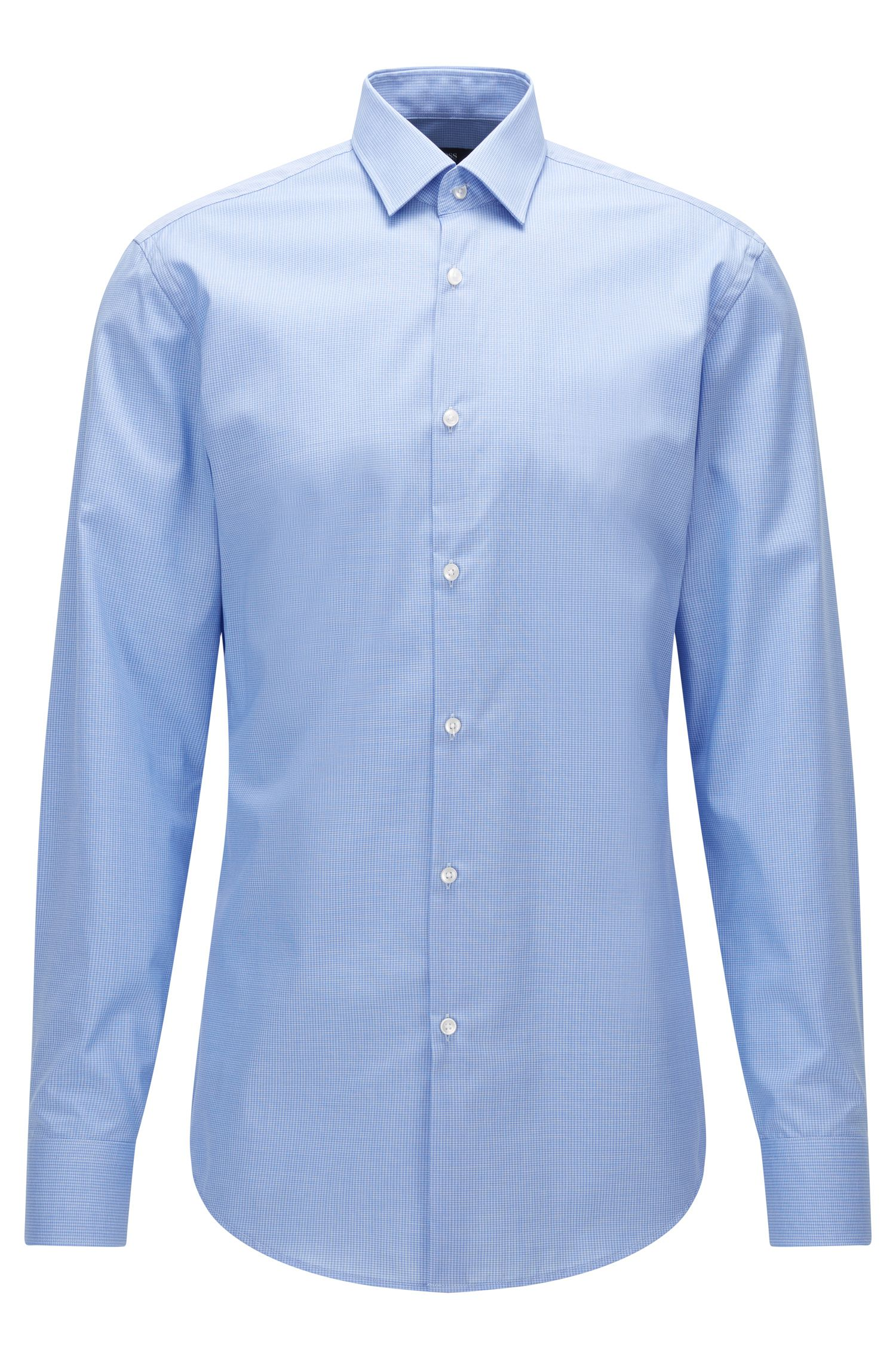 Slim-fit shirt in patterned cotton poplin
