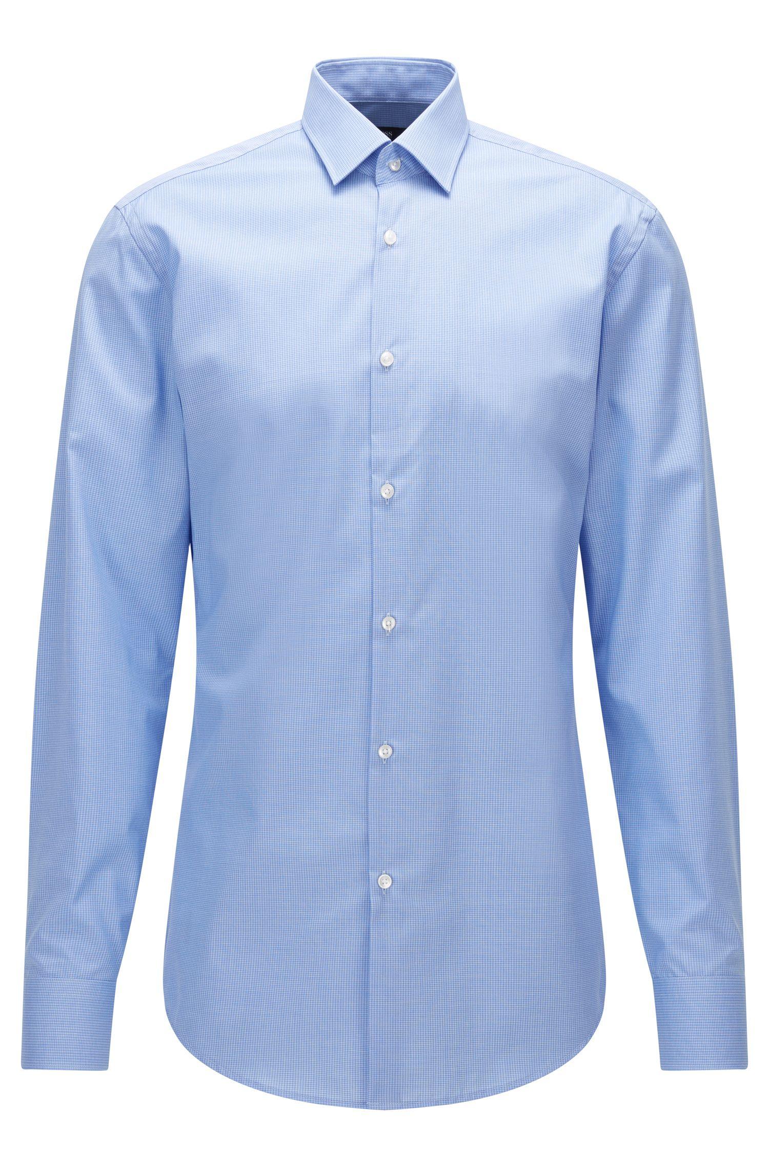 Camicia slim fit in popeline di cotone a disegni