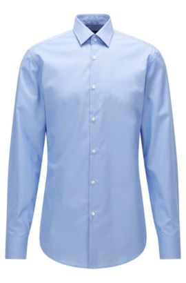 Camicia slim fit in popeline di cotone a disegni, Celeste