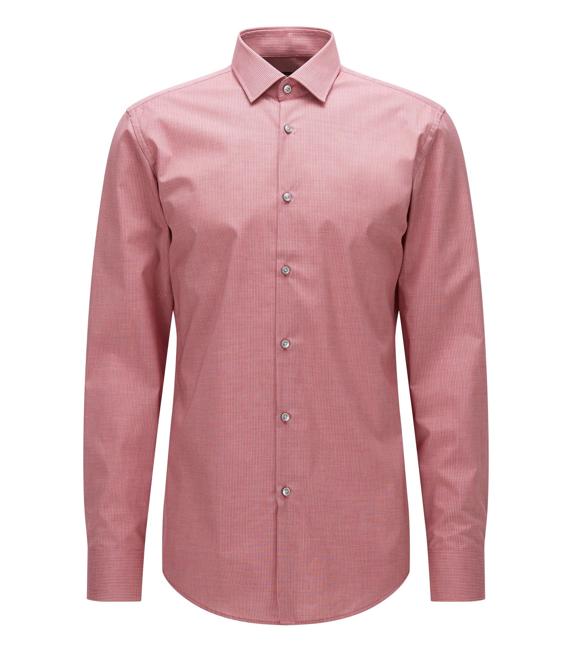 Slim-fit overhemd van katoenen popeline met dessin, Rood