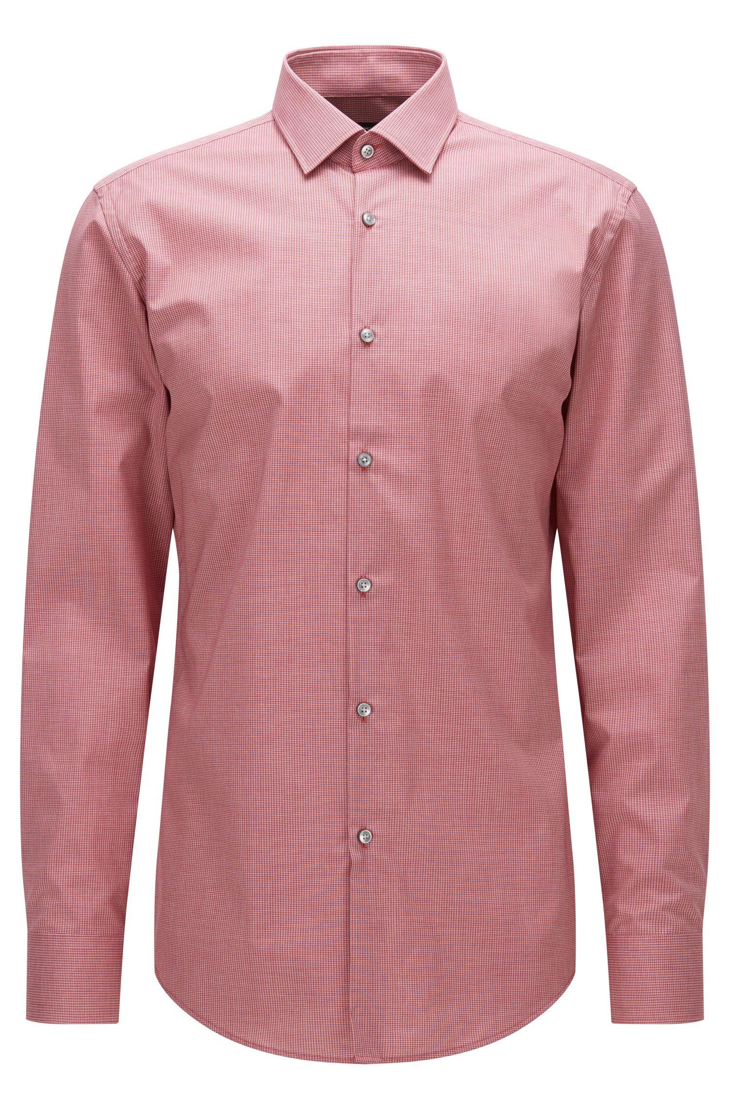 Gemustertes Slim-Fit Hemd aus Baumwoll-Popeline