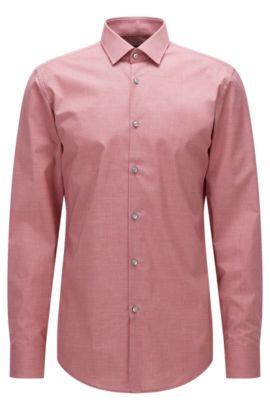Gemustertes Slim-Fit Hemd aus Baumwoll-Popeline, Rot