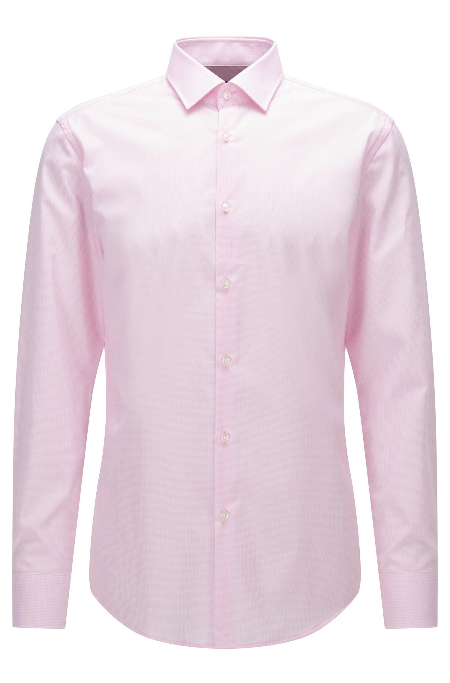 Slim-fit shirt in patterned cotton poplin