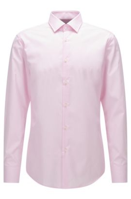 Slim-fit shirt in patterned cotton poplin, light pink