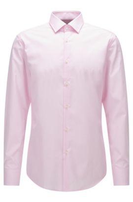 Slim-fit overhemd van katoenen popeline met dessin, Lichtroze