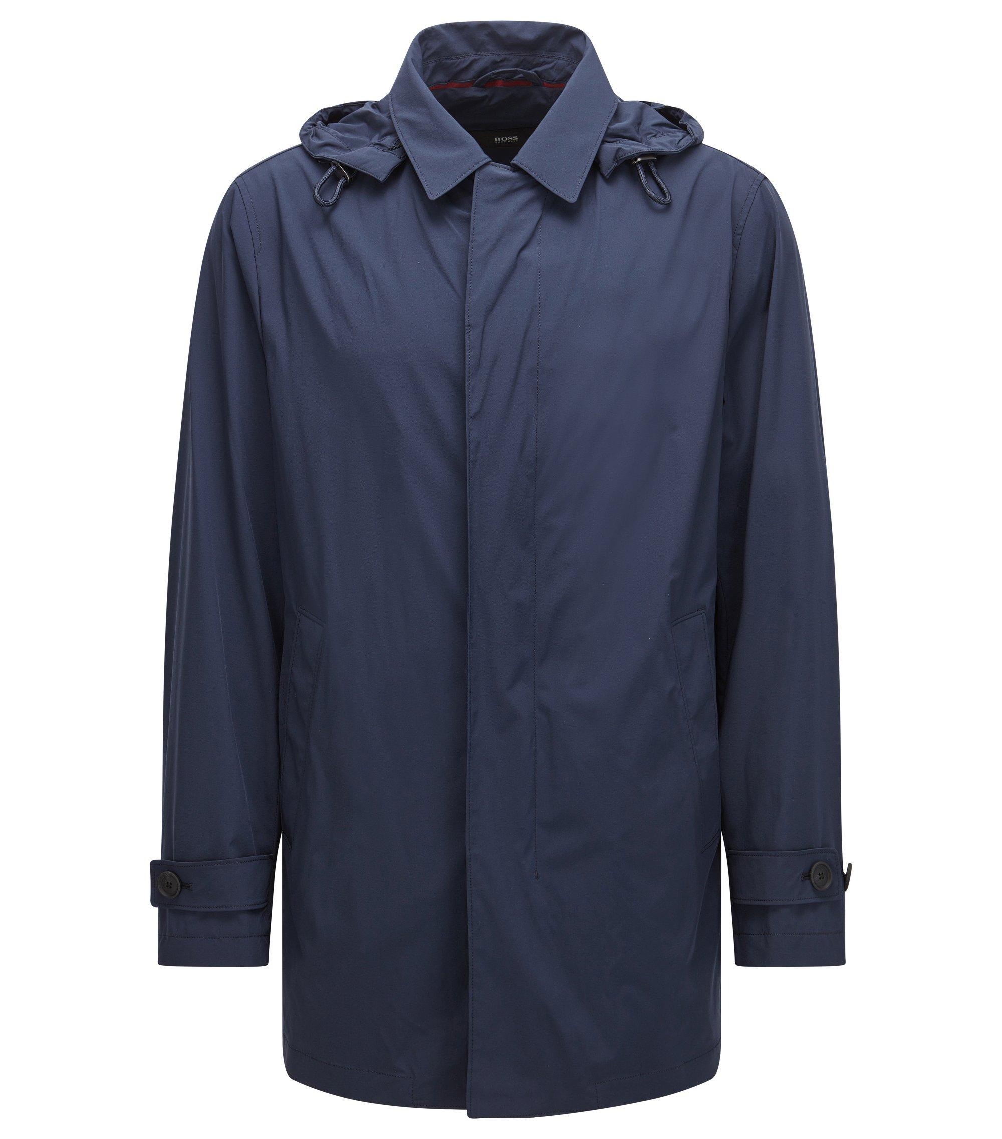 Regular-fit packable raincoat in technical stretch fabric, Dark Blue