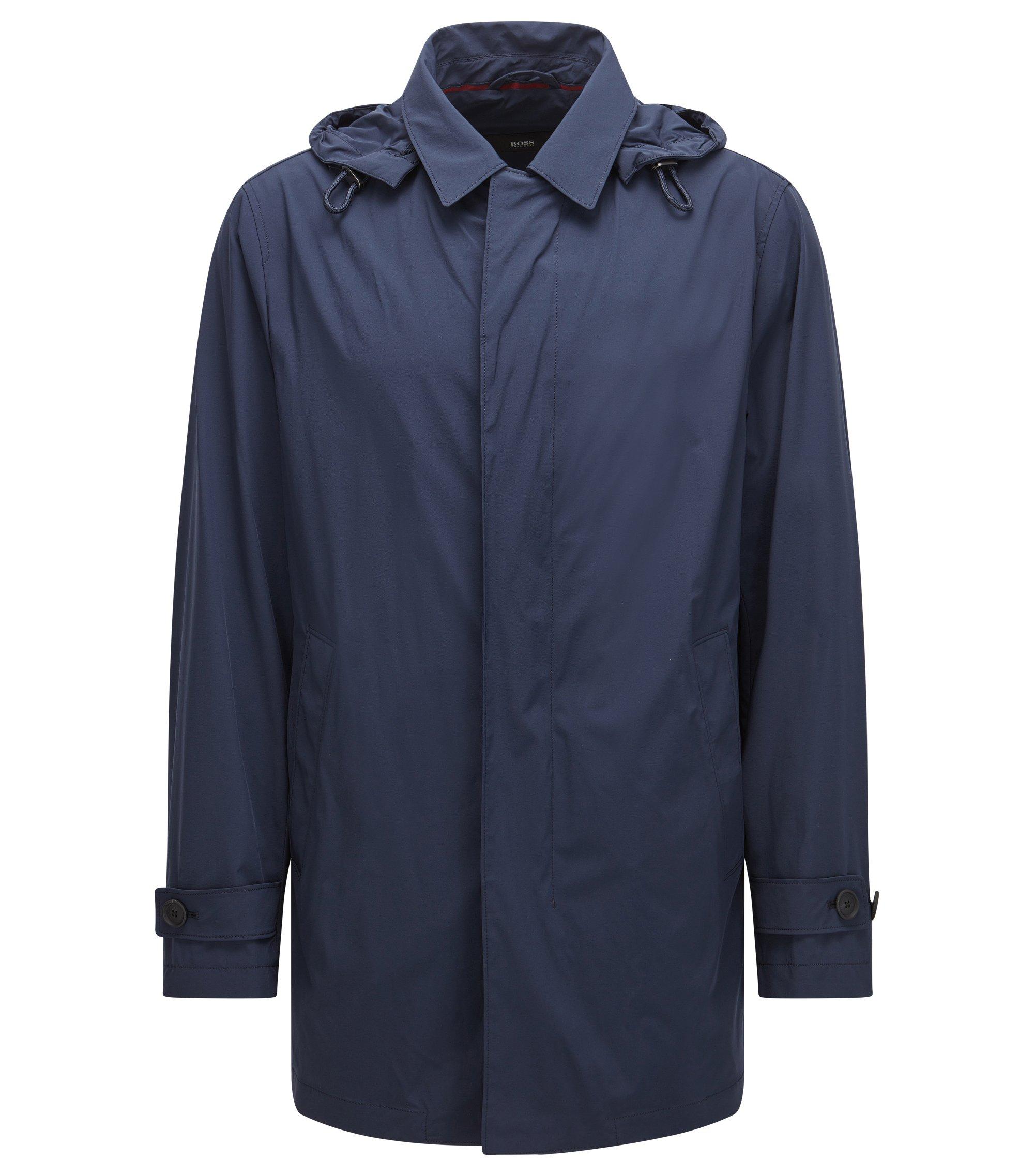 Inpakbare regular-fit regenjas van technisch stretchmateriaal, Donkerblauw