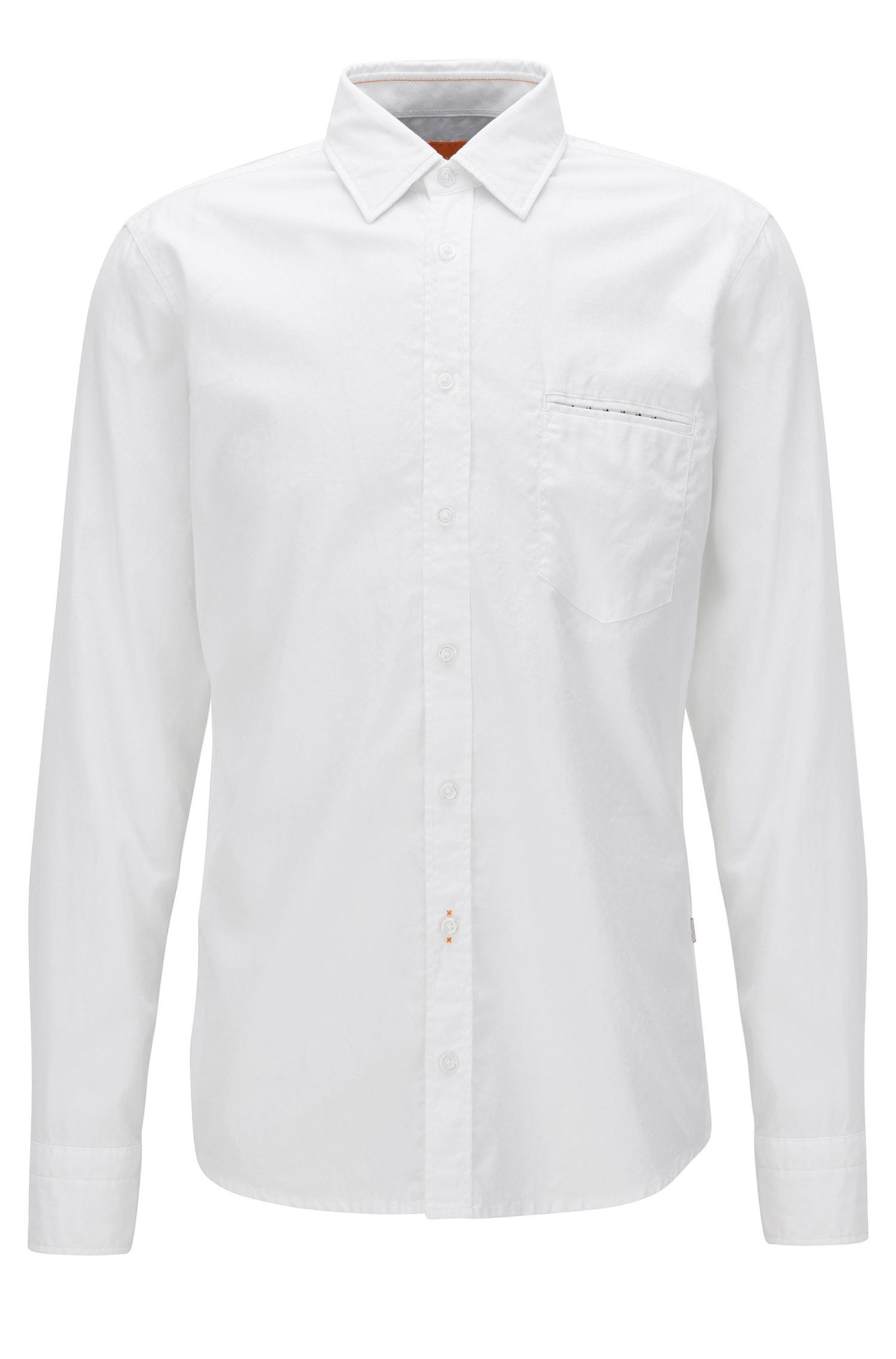 Regular-fit shirt in dobby cotton