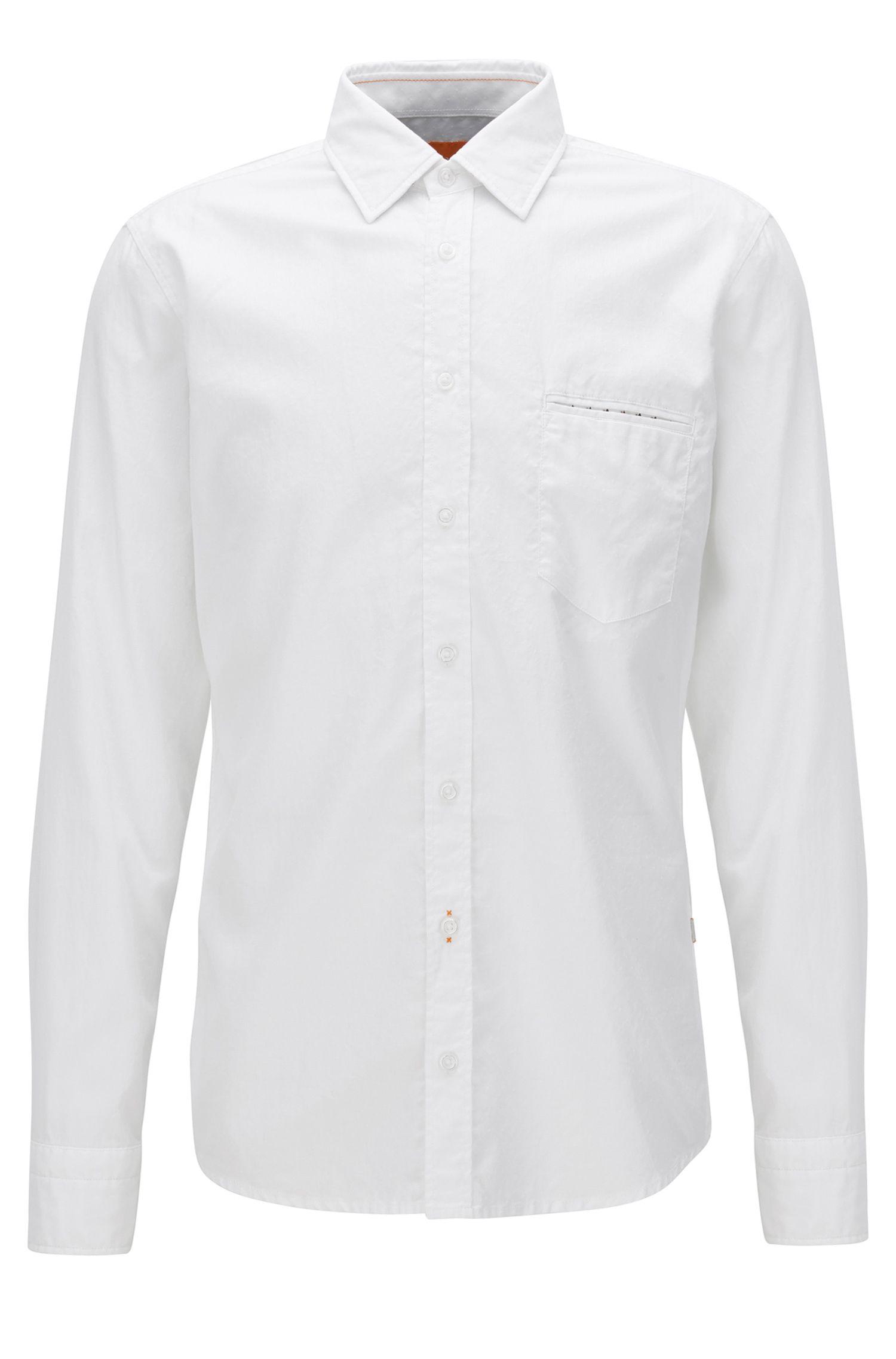 Camisa regular fit en algodón de tejido dobby