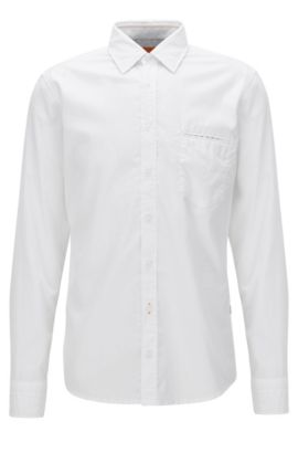 Regular-fit shirt in dobby cotton, White