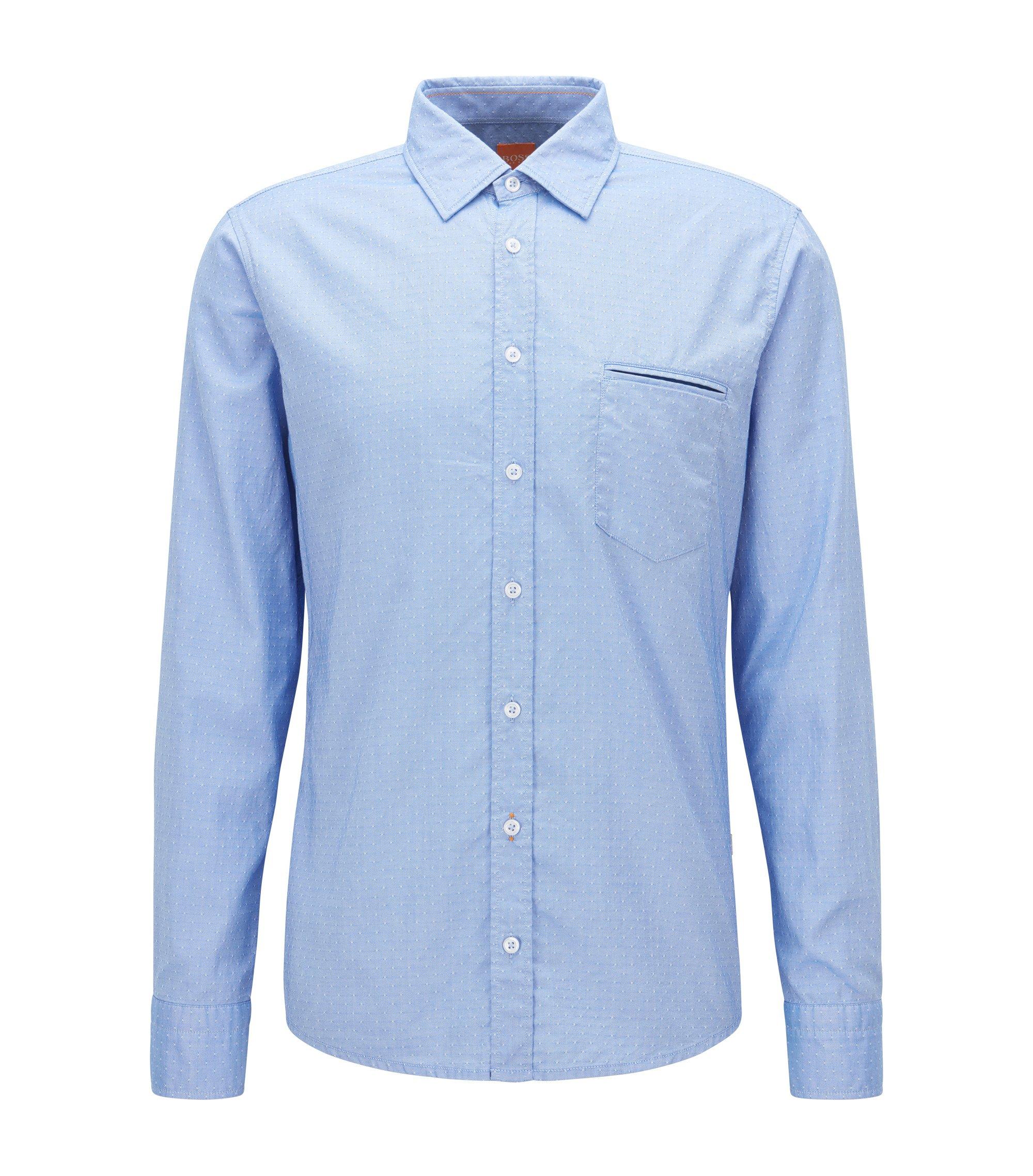 Chemise en coton façonné Regular Fit, Bleu