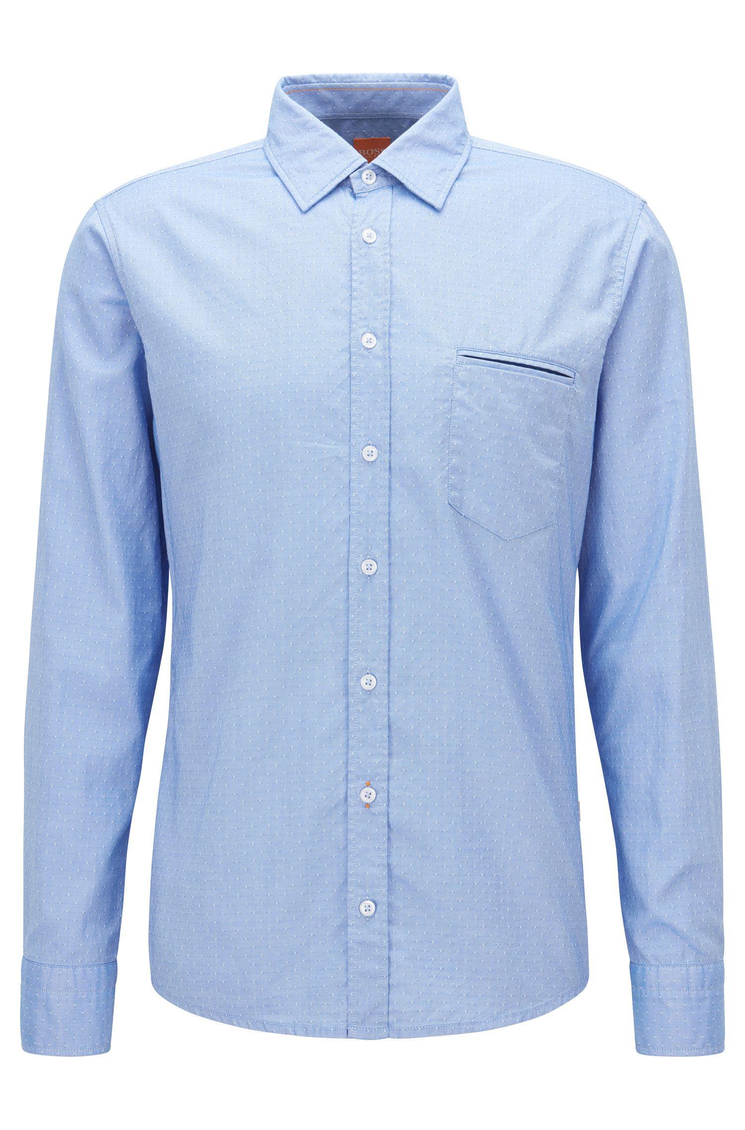 Regular-Fit-Hemd aus strukturierter Baumwolle