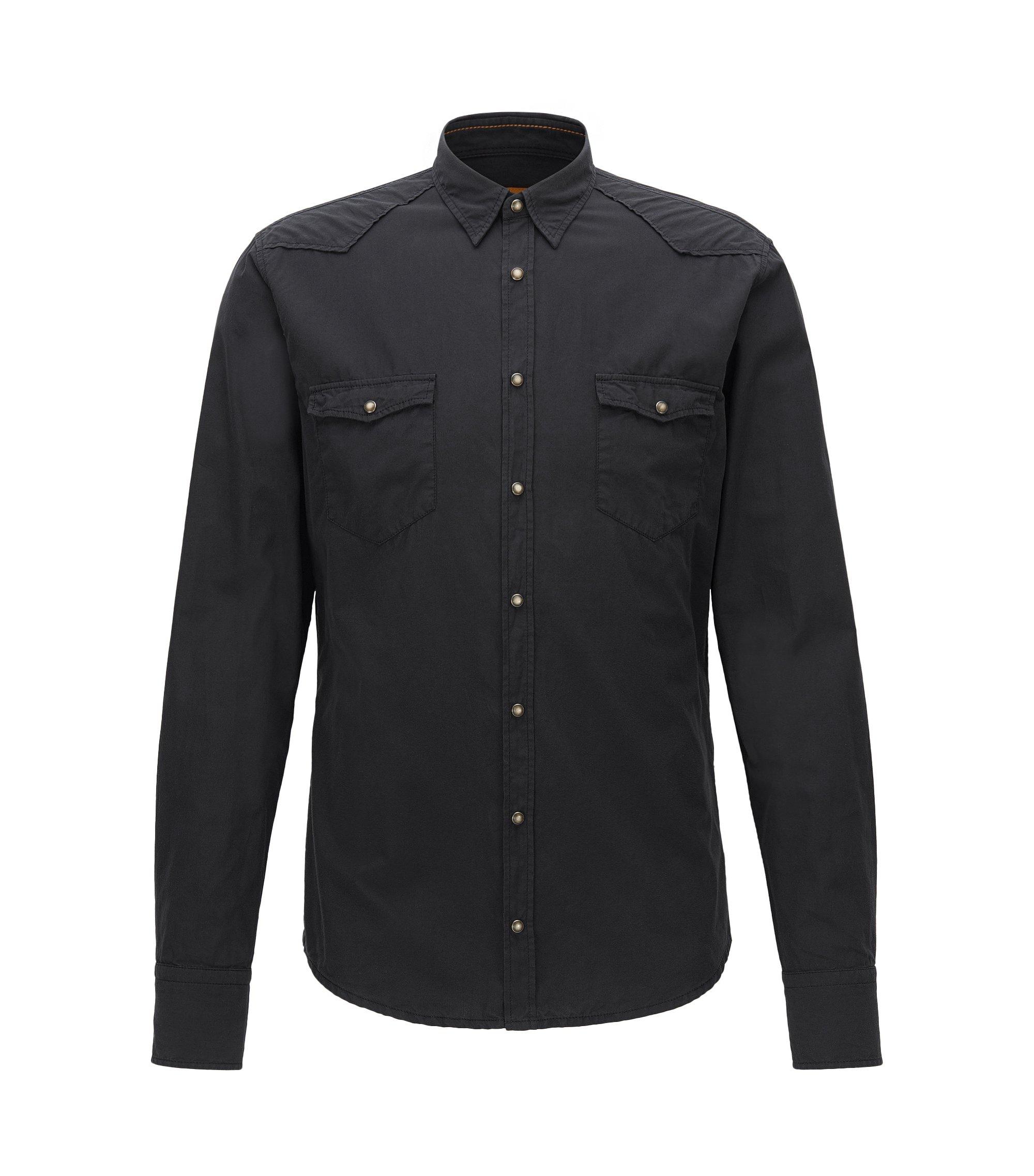 Camicia stile cow-boy slim fit in popeline di cotone, Nero