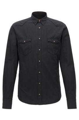 Camisa de vaquero slim fit en popelín de algodón, Negro